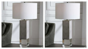 "PAIR CORDATA MODERN LODGE 29"" GRAY OAK LOOK CRYSTAL BASE TABLE LAMP UTTERMOST"