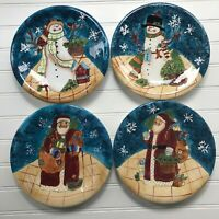 Susan Winget Certified International Santa Snowmen Set of 4 Dessert Plates CIC