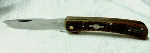 ROUGH RIDER RR772 BROWN JIGGED BONE LINER LOCK FOLDING POCKET KNIFE-USED
