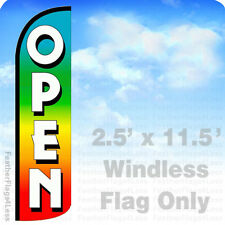 Open - Windless Swooper Feather Flag Banner Sign 2.5x11.5 - rainbow q