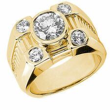 2 carat center Round Diamond Engagement Solitaire Mens 14k Yellow Gold Ring