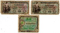 2 Military Payment Certificate 10¢ Series 481 + 1 Military One Yen Series 100!@!