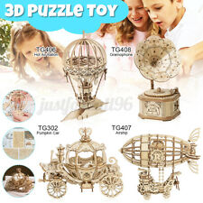 4 Types 3D Puzzle Toy DIY Wooden Assembly Model Kits Gift for Kids Girls Boy USA
