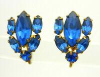 Blue Rhinestone Glass Gold Tone 1940s Screw Back Flower Earrings