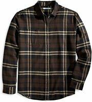 Essentials Men's Regular-Fit Long-Sleeve Plaid, Brown Plaid, Size X-Large
