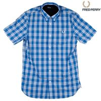 Fred Perry Tartan Gingham Mix Men's Short Sleeve Shirt M8273-969 - PRINCE BLUE