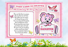 BABY DAUGHTER  POSTCARD TO HEAVEN MEMORIAL GRAVESIDE CARD & FREE HOLDER