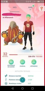 Pokémon go level 32, Compte Rouge , Légendaire & Chromatique