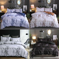 Marble Effect Duvet Quilt Cover Pillowcase Bedding Set Single Double King Size