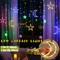 2.5/3.5M LED Moon Star Curtain Lights Fairy String Wall Lights Wedding Lamp