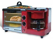 RED 3-in-1 Multifunction Breakfast Hub 4 Slice Toaster Oven Coffee maker NEW