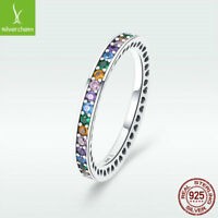 925 Sterling Silver Rainbow Ring with Colorful CZ Stylish Women Jewelry Size 6-8
