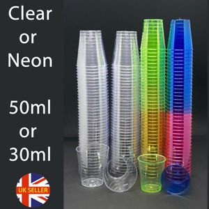 Plastic Shot Glasses Drinking Cup Neon Coloured Party Bar Games Drink 50ml 30ml