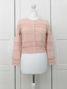 Sandro Blush Pink Pointelle Stretch Knit Cardigan Size 2