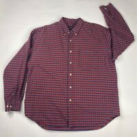 Eddie Bauer Mens Oxford Shirt Red Plaid Long Sleeve 100% Cotton Pocket L