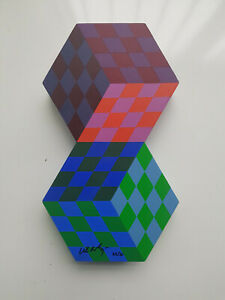 "Victor Vasarely-""AXO""-Wood Sculpture-1980-Signed Edition 22/50"