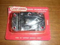 """VINTAGE CRAFTSMAN CHROME PLATED CABINET HINGE 3/8"""" OFFSET DOORS NOS"""