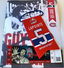 BANNER, PROGRAM & ticket ** Guy LAPOINTE # 5 retiring Jersey night souvenir kit