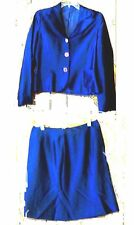 Metallic Midnight Blue Satiny Skirt Set Fabric Imported from Italy NWOT Size M