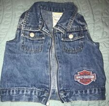 Baby Harley Davidson Denim Vest With Logo Patch Size 18 Months