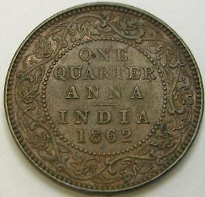 INDIA (British) 1/4 Anna 1862 - Copper - Victoria - VF+ - 3053 ¤
