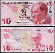 TURKEY 10 LIRA (P223b) 2009 (2012) UNC
