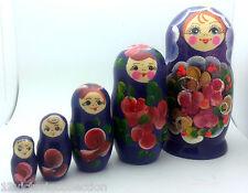 TRADITIONAL Russian Matryoshka Hand Painted Nesting Babushka set of 5 Doll wood