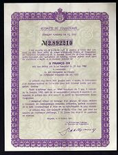 royaume de YOUGOSLAVIE Emprunt OR 1933 reçu de coupon 5 Francs OR