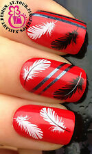 NAIL ART DECORATION WRAP WATER TRANSFERS STICKERS DECALS BLACK WHITE FEATHER #39