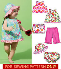 SEWING PATTERN!  MAKE BABY GIRL TOPS~SKIRT~PANTS~PANTIES~HAT! SUMMER CLOTHES!