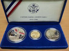 1986 U.S. Mint  Liberty Three Coin Set Silver and Gold