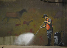 Banksy Cave painting clean up street art on Canvas ACEO Print graffiti Venne