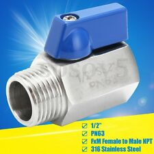 """1/2"""" 316 Stainless Steel PN63 Mini Ball Valve Female to Male For Gas Oil  Water"""