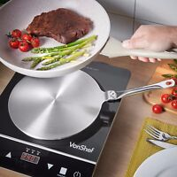 """VonShef Induction Hob Heat Diffuser 9.5"""" Stainless Steel Stovetop Cooking Plates"""