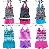 Girls Halter Tankini Swimsuit Swimwear Swimming Costume Bathing Age 5-16 Years