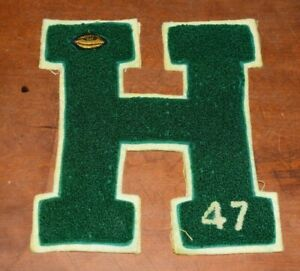 """1947 HS Varsity Letter """"H"""" Letterman Jacket Patch Embroidered-Football-8 1/2 In"""