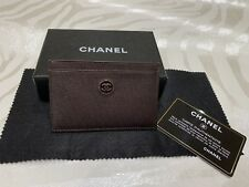 AUTH CHANEL RARE NWT Card Case/Holder Brown Lambskin with Leather-Accented Logo