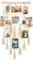 Mkono Hanging Photo Display with String Lights Macrame Boho Wall Hanging Decor