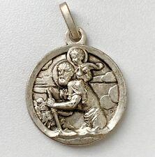 Vintage Notre Dame de Paris Saint Christopher Medallion Pendant Silver Tone