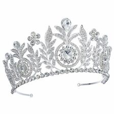 TQD62 Clear Glass Rhinestone Luxury Tiara Bridal Wedding Vintage Princess Crown