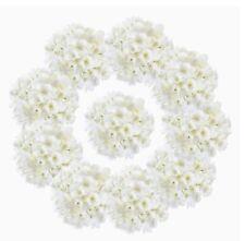 Set Of 25 Single Stem White Hydrangeas With Green Wire Stems