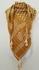 SL Gold Mustard Tan Unisex Shemagh Head Scarf Neck Wrap Cottton Yellow Cover GDY