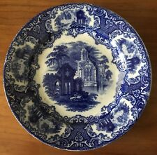 Old Petrus Regout Abbey Luncheon Plate Flow Blue Transferware Maastricht Holland