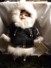 Alaskan Friends Genuine Porcelain Native Eskimo Doll Dressed Fur w/Bead Accents