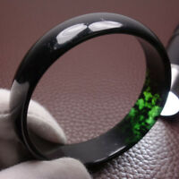 64mm Chinese 100% Natural Black Green Xiu Jade Bracelet Bangle A-086