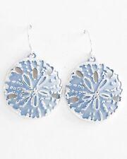 COASTAL COLLECTION Silver Blue Enamel SAND DOLLAR Sea Life Dangle Earrings NWT