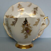 Queen Anne Vintage Bone China Tea Cup and Saucer Gold Thistle Pink England 5748