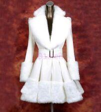 HOT Women Coat Winter White Trench Princess Dress Fur collar Long Jacket Clothes