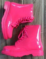 New WILD DIVA LOUNGE neon PVC combat boots HOT PINK sz 8,9,10 rainboots
