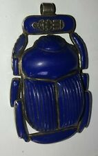 Antique Egyptian REVIVAL Scarab Pendant Lapis Lazuli Sterling Silver Necklace